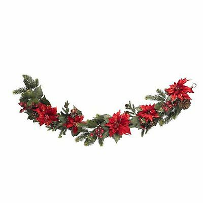 Decorative Natural Looking Artificial 60 Poinsettia & Berry Garland Faux Plants