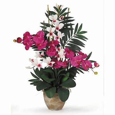 Decorative Artificial Beauty White Bamboo Phalaenopsis Dendrobium Silk Plants