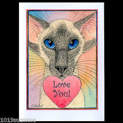 ORIGINAL LARGE BLUEPOINT SIAMESE CAT HEART VALENTINES CARD BY SUZANNE LE GOOD