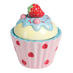 dotcomgiftshop STRAWBERRY CERAMIC CUPCAKE TRINKET BOX HAND PAINTED