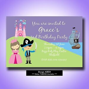 Personalised Birthday Party Invitations Princess and Pirate A0034