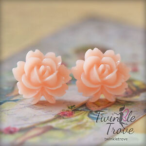 Vintage and Shabby Chic Style Carved Rose Stud Earrings. Great Wedding Favours