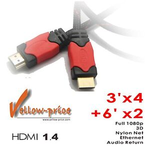 Lot-6-pieces-3FT-x4-6FT-x2-Premium-HDMI-Cables-V1-4-w-Nylon-net-1080p-3D-6x