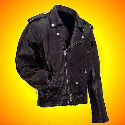 Leather Motorcycle Jacket-Biker Jacket-Men's LARGE-FREE Leather Cap w/Buy It Now