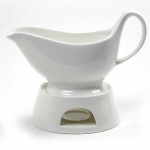 NORPRO-Porcelain-Gravy-Sauce-Boat-With-Stand-Candle