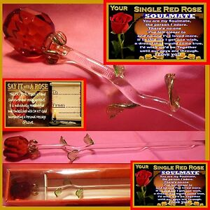 SINGLE RED ROSE GLASS FLOWER SOULMATE GIFT  VALENTINES DAY GIRLFRIEND I LOVE YOU