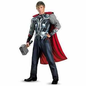 THOR THE AVENGERS MUSCLE CHEST MAN MENS SUPERHERO FANCY DRESS COSTUME