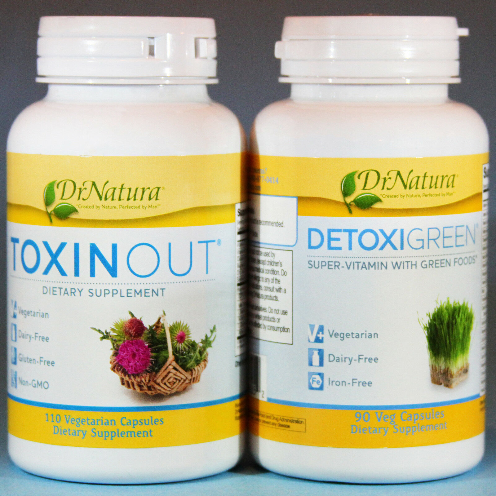 Detoxigreen & Toxinout Combo By Dr Natura Colonix Green Foods Vitamin Dairy Free