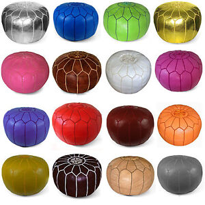 STUFFED-Moroccan-Leather-Pouf-Poufs-Pouffes-Ottomans-many-colors-available