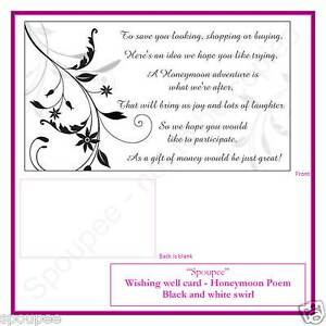 10 Black Elegant Wedding Wishing Well Cards Swirl Honeymoon Poem For Invitations