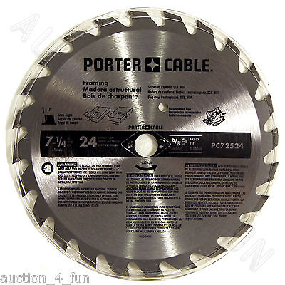 "Porter Cable PC72524 7-1/4"" 24TPI Circular Saw Blade for Framing 24Carbide Tooth"