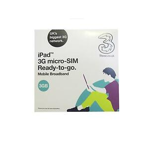 Three-3-PAYG-Mobile-Broadband-3G-Micro-Sim-Card-for-iPad-3GB-Data-for-90-Days