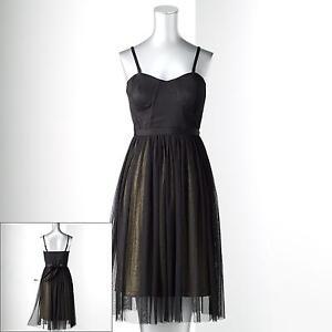 SIMPLY-VERA-WANG-Womens-Black-DRESS-Convertible-Mesh-Corset-Ballerina-Chiffon