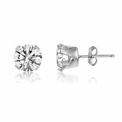 2ct+White+Topaz+925+Sterling+Silver+Stud+Earrings+-+6mm+Round