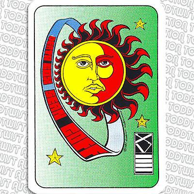 Death Box Skateboard Sticker - Sean Goff Tarot Card / Sun Graphic 80s Old School