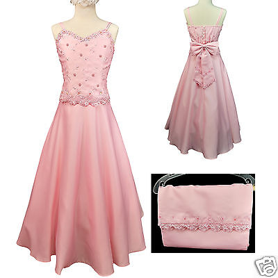 Girl Pageant Bridesmaid Evening Flower Formal Dress Size 6 8 10 12 14 16 Pink