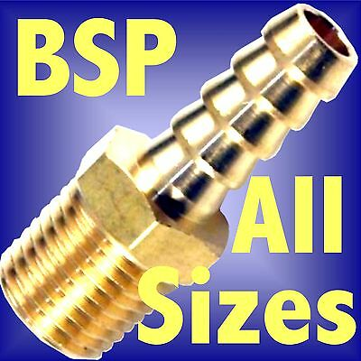 BSP TAPER THREAD x HOSE TAIL END CONNECTOR FITTING brass air water fuel bspt