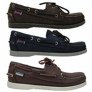 Sebago-Mens-Docksides-Brown-or-Navy-Blue-Lace-up-Casual-Fashion-Boat-Shoes