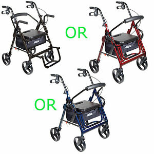 Drive-Duet-Rollator-Walker-Transport-Chair-2-in-1-Combination-Wheelchair-New