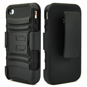 BLACK-3-IN-1-RUGGED-COMBO-CASE-BELT-CLIP-HOLSTER-KICKSTAND-APPLE-IPHONE-4-4S