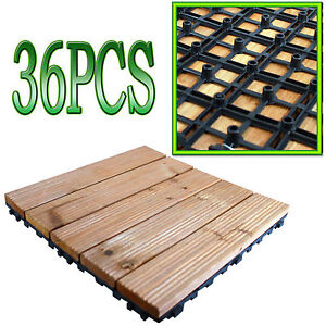GARDEN WOODEN DECKS SLABS DECKING FLOOR INTERLOCKING TILES 30CM SQ DECK SLAB