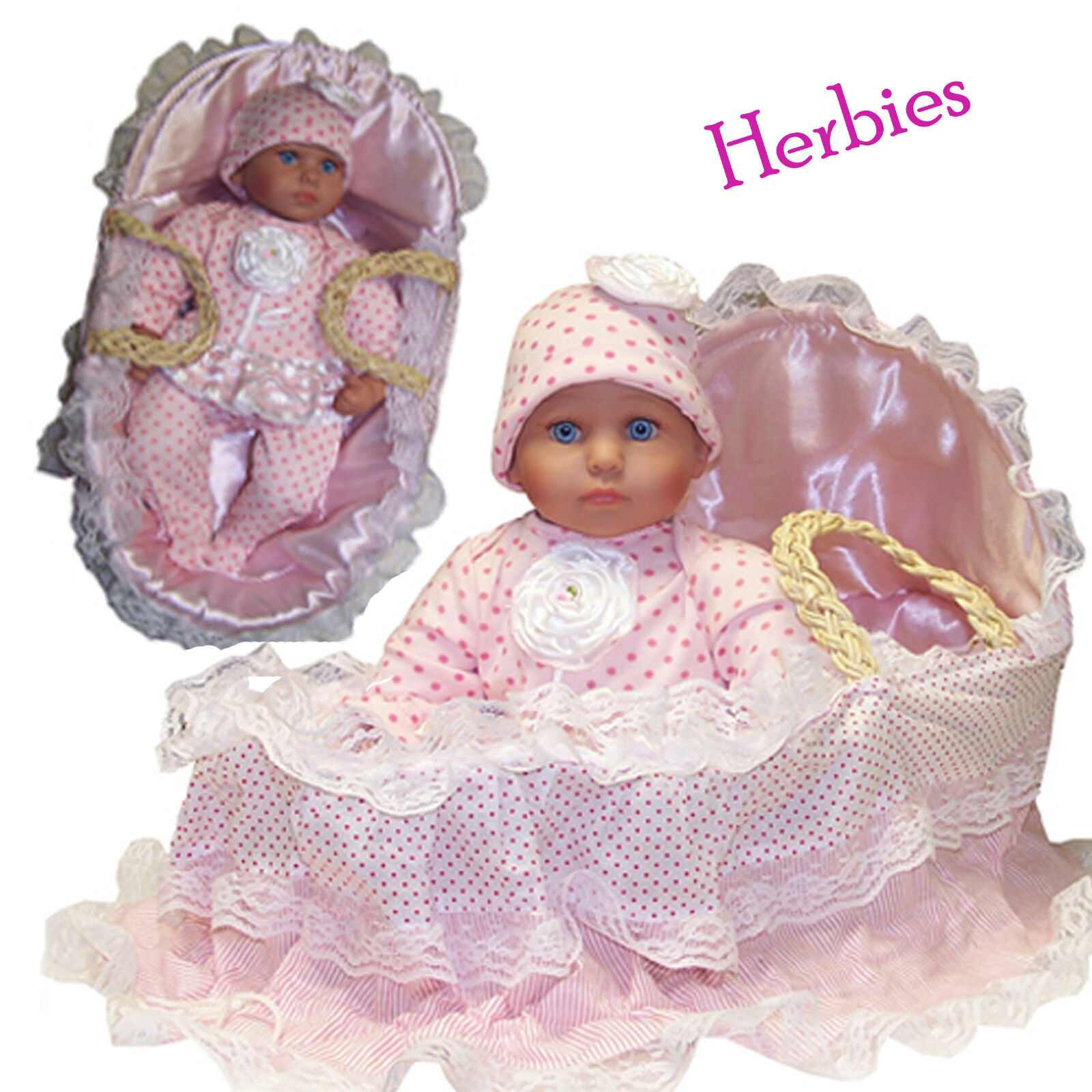 Molly P Originals Dolls 16 Tina In Soft Moses Carrier Vinyl & Cloth Doll