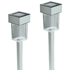 New 24 Pack Aluminum Outdoor White LED Solar Landscape Path Lights Yard Lamp