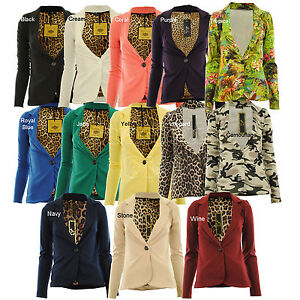 Estefani-New-Womens-One-Button-Front-Animal-Line-Ponte-Ladies-Blazer-Jacket-Coat