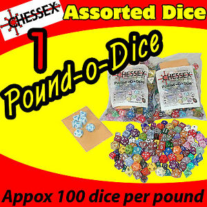 (1) POUND OF DICE BAG CHESSEX GAME ASSORTED AD&D ROLE PLAYING COLLECT CHX001LB-1