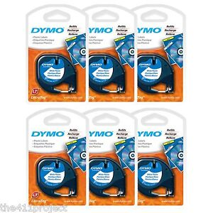 6PK Dymo Letra Tag WHITE Plastic LetraTag & LT-100 Label Tapes 91331 91201 91221