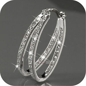18k-white-gold-gp-genuine-SWAROVSKI-crystal-hoop-stud-earrings-oval-hoops