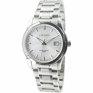 Gents-Swiss-Movement-Solid-Stainless-Dress-Watch-w-Saphire-Crystal-by-Lowen