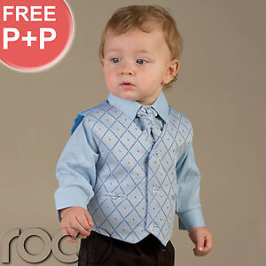 Baby-Boys-Pageboy-Wedding-Black-Blue-waistcoat-suit-0M-14YRS