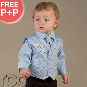Baby-Boys-Pageboy-Wedding-Black-Blue-waistcoat-suit-0M-14YRS