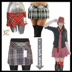 Ladies-Sexy-Micro-Mini-Hipster-Tartan-Kilt-Skirts-9-12-or-14-Inch-St-Trinians