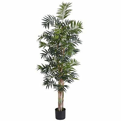 Decorative Natural Looking Artificial Asian 6' Bamboo Palm Silk Tree Faux Plants