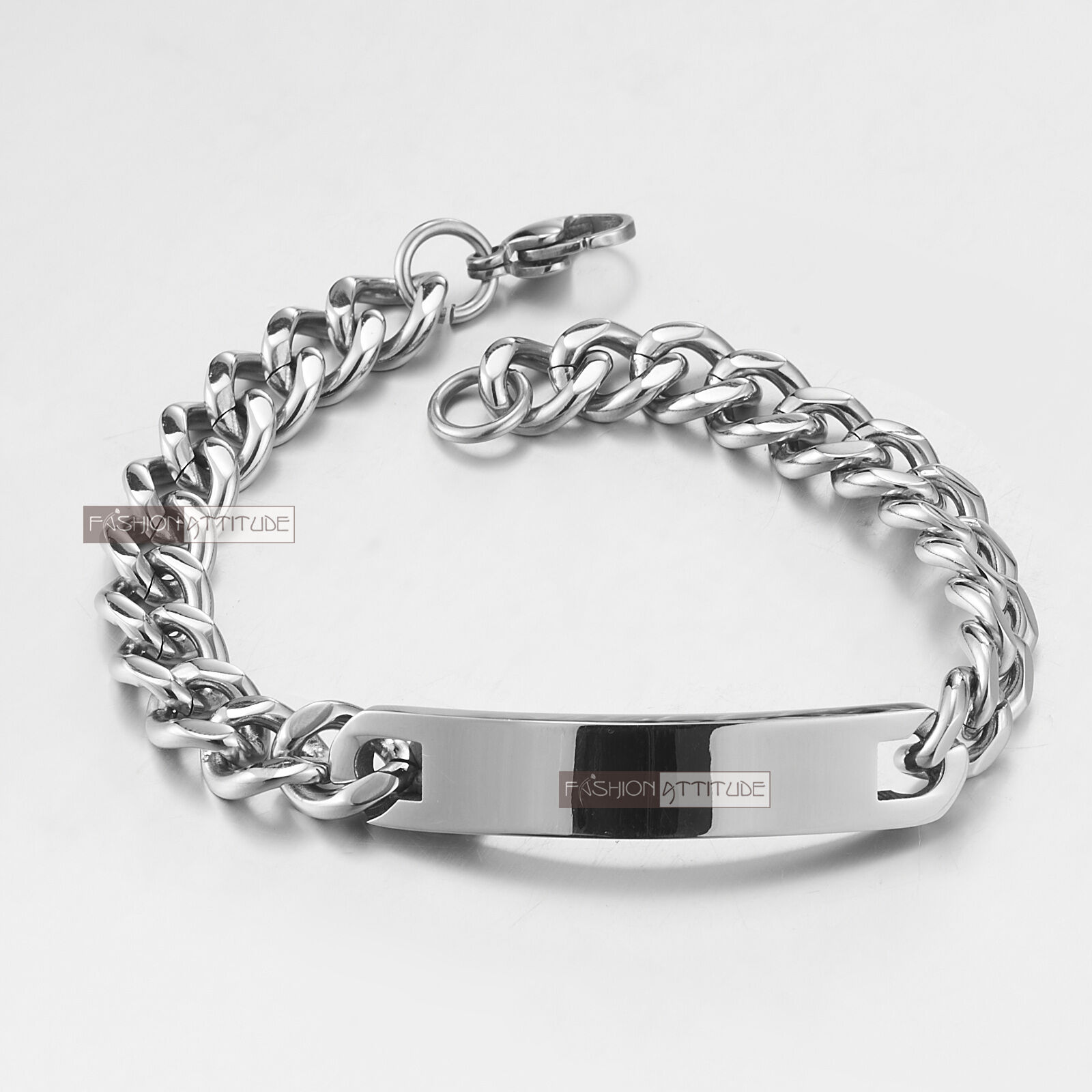 stainless steel curb chain id bracelet name tag engravable. Black Bedroom Furniture Sets. Home Design Ideas
