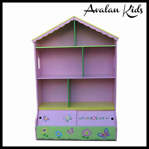 GIRLS-DOLLHOUSE-BOOKCASE-STORAGE-FAIRY-FLOWER-BOOKSHELF-CUBBYHOUSE-PLAYHOUSE