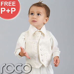 BABY-BOYS-IVORY-WAISTCOAT-SUIT-4-PIECE-WEDDING-PAGEBOY-OUTFITS-CHRISTENING-SUIT