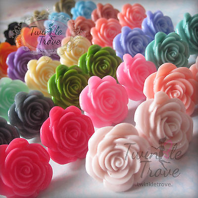 Large Flower Rose Earrings Studs Retro Vintage Kitsch Cute Black Hot Pink&Others