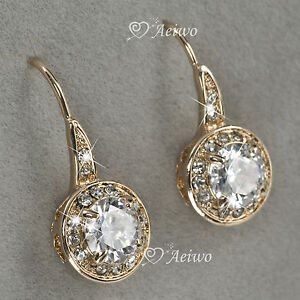 EARRINGS STUD 9K GF 9CT SOLID PINKY YELLOW GOLD SWAROVSKI CRYSTAL 1CT