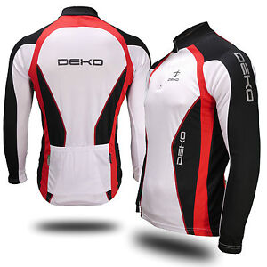 Deko Air Cycling long sleeve or short sleeve Jersey in Black, Red, White & Blue