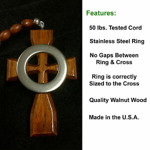Boondock Saints Cross Brothers Irish Celtic Wood Cross & Rosary Necklace 5 Decad