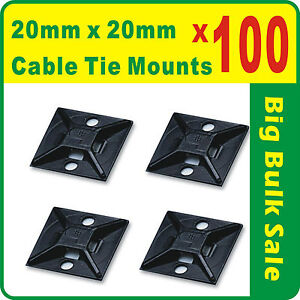 100 x Cable Tie Mounts Black 20mm x 20mm Self Adhesive Free Postage