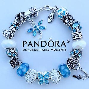 Pandora bracelet silver blue white butterfly love heart charm beads