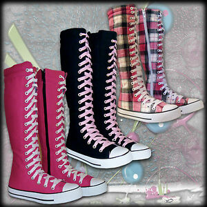 Girls-Kids-Shoes-Knee-High-Canvas-Lace-Ups-Tall-Boots-Youth-Size-12-13-1-2-3-4