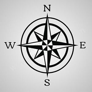 Compass Rose Vinyl Wall Quote Word Decal Nautical Boat