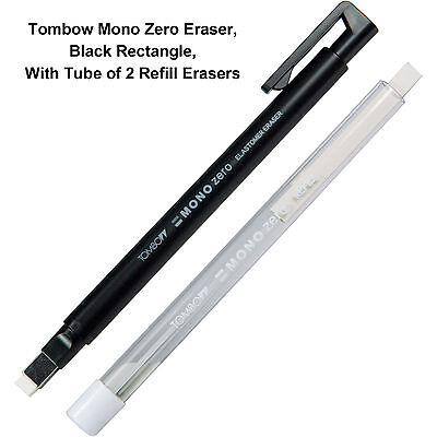 Tombow Mono Zero Eraser Black Rectangle With Tube Of 2 Refill Erasers