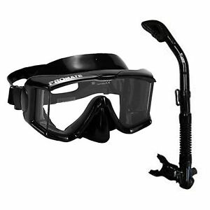 Black-Side-view-Edgeless-Mask-and-100-Dry-Snorkel-Set-SCUBA-Freedive-Diving-S7
