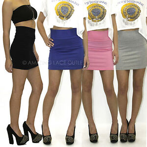 High-Waist-Cotton-Mini-Skirt-Sexy-Casual-Waisted-Pencil-Fitted-Stretch-Comfy